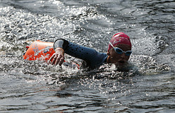 Open Water Swimmer keeping visible